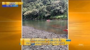 Jovem morre afogado ao tentar atravessar rio a nado no Oeste de SC - Jovem morre afogado ao tentar atravessar rio a nado no Oeste de SC