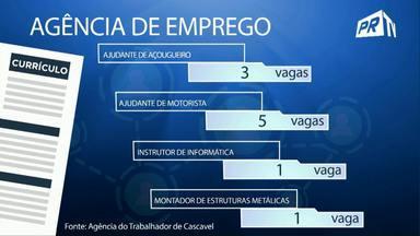 Confira as vagas de trabalho disponíveis na agência do trabalhador em Cascavel - Tem 5 vagas para ajudante de motorista.