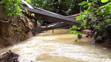 Moradores da zona rural quase ficam isolados após ponte cair - Moradores da zona rural quase ficam isolados após ponte cair