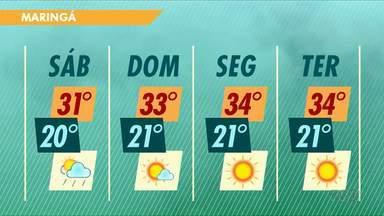 Fim de semana deve ser quente em Maringá - Confira a previsão do tempo.