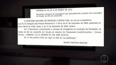 Governo federal decreta situação de emergência em Petrópolis, Região Serrana do Rio - Assista a seguir.