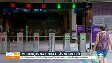 O metrô vai ampliar o horário de funcionamento da estação Eucaliptos da linha cinco lilás - O novo horário entra em vigor a partir da próxima segunda-feira
