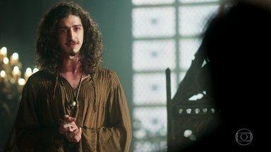Rodolfo anuncia que flexibilizou a pena de Catarina - Cássio protesta, mas o rei afirma que ela agora é convidada de Montemor