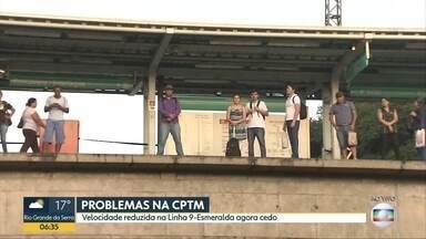 Linha 9-Esmeralda da CPTM teve problemas na manhã desta quinta-feira - Trens circularam em com velocidade reduzida num trecho da Zona Sul de São Paulo.