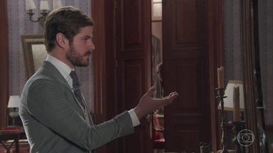 Jane flagra ensaio de Camilo para pedido de casamento - Empolgada, ela conta para Elisabeta as intenções do pretendente