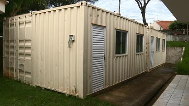 Salas de aula containers devem ser utilizadas em maio em Londrina - Os containers foram comprados para a Escola Maria Carmelita utilizar em 2016, mas só vão ser liberados no final deste mês.