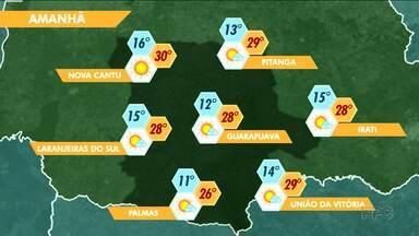 Faz sol na região de Guarapuava - A mínima é de 12º em Guarapuava