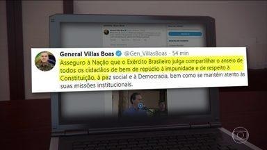 Comandante do Exército repudia a impunidade em rede social - O general Villas Boas disse que o Exército Brasileiro julga compartilhar o anseio de todos contra a impunidade. Ele também questionou quem está pensando no bem do país e quem está apenas preocupado com interesses pessoais.