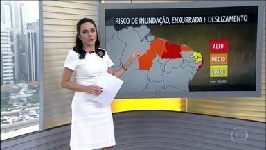 Aumenta risco de enxurrada, inundação e deslizamentos no Pará e em parte do Nordeste - A previsão é de mais chuva volumosa em boa parte do Nordeste. O tempo continua seco no Sul e em parte do Sudeste e Centro-Oeste.