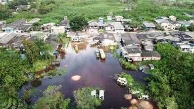 Cheia do rio Jari já atingiu sete bairros do município de Laranjal do Jari, no Sul do AP - Mais de 300 pessoas já são vítimas do alagamento.