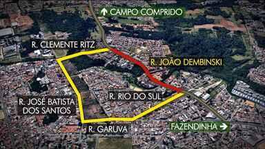 Trânsito na Rua João Dembinski vai passar por mudanças a partir desta quarta (18) - A região deve passar por obras de contenção e recuperação do terreno onde houve um deslizamento.