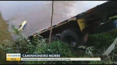 Caminhoneiro morre após veículo cair em córrego em Patrocínio Paulista, SP - Vítima, de 26 anos, trabalhava em usina na região.