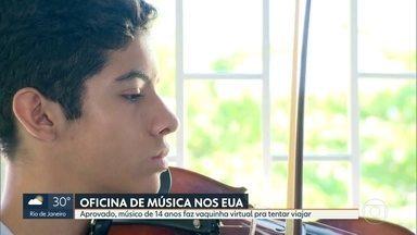 Menino de 14 anos faz vaquinha on line pra conseguir cursar oficina de música nos EUA - Ele é violinista desde os oito anos. E foi aprovado no curso disputando com músicos do mundo inteiro.
