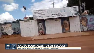 Morador denuncia assaltos em escola de Ceilândia - Telespectador enviou vídeo do Centro Educacional 11, no P Norte, dizendo que a escola sofreu assalto duas vezes na última sexta-feira.Batalhão Escolar da PM diz que faz operações todos os dias, dentro e fora da escola.