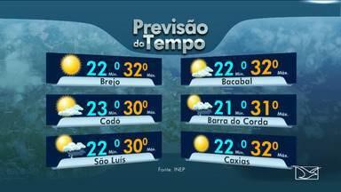 Veja as variações das temperaturas no Maranhão - Previsão para esta quinta-feira (10) será de muitas nuvens durante todo o dia em grande parte do estado.