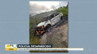 Polícia investiga se corpo encontrado em Itaboraí é de PM desaparecido - O carro do policial militar Carlos Renato Santos Dália foi encontrado em Itaboraí.