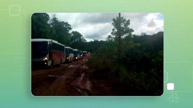 Tô na Rede: fortes chuvas em Serra do Navio causam estragos em estrada - Trecho crítico é fica na entrada do município. Uma estrada de chão que liga a perimetral norte a vila da cidade. Prefeitura informou que a manutenção desse trecho já começou.