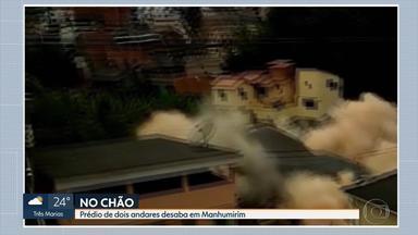 Prédio de dois andares desaba em Manhumirim, em Minas Gerais - Imagens mostram momento da queda. Ninguém ficou ferido.