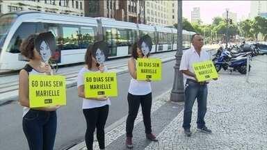 Dia é de protestos pelos 2 meses sem respostas sobre as execuções de Marielle e Anderson - Em frente à Secretaria de Segurança do RJ, houve um protesto da Anistia Internacional.