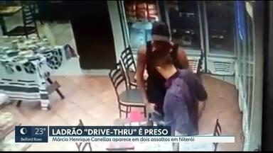 """Ladrão """"Drive-thru"""" é identificado pela polícia - Bandido foi reconhecido em outro assalto a um posto de gasolina em fevereiro."""