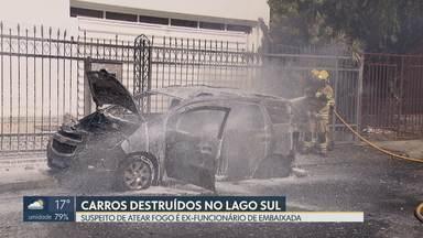 Carros da Embaixada da Guiné são incendiados no Lago Sul - O principal suspeito é um ex-funcionário da Embaixada. Ele teria ateado fogo e destruído dois carros por causa de problemas trabalhistas.