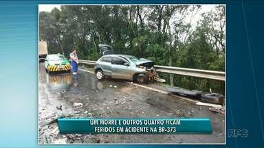 Acidente deixa um morto e quatro feridos na BR-373 - Colisão foi entre Guamiranga e Prudentópolis.