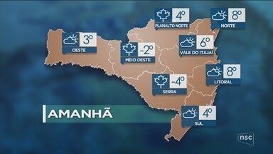Veja como ficará o tempo em todas as regiões de SC nesta quinta-feira (14) - Veja como ficará o tempo em todas as regiões de SC nesta quinta-feira (14)