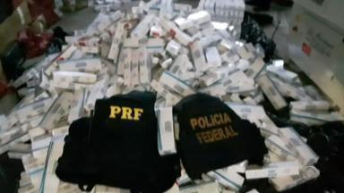 Operação em três estados investiga rede de distribuição de cigarros contrabandeados - Ação foi realizada no Rio Grande do Sul, em Santa Catarina e no Paraná, pela PF e PRF. Desde o início das investigações, foram apreendidos mais de 1,4 milhão de maços; PF estima R$ 10 milhões em prejuízos aos cofres públicos.