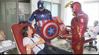 JPB2JP: Super-herois ajudam Hemocentro em campanha para incentivar doação de sangue - Seja um doador!