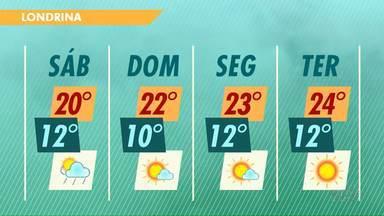 Fim de semana tem chuva no sábado e sol no domingo em Londrina - A temperatura não deve cair muito nos próximos dias.