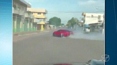 Motorista faz manobras arriscadas com carro em avenida de Santarém - Registro foi em uma das avenidas mais movimentadas, a Avenida São Sebastião com Travessa Luiz Barbosa, no bairro Laguinho.