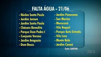 16 mil casas devem ficar sem água nesta quinta-feira em Ponta Grossa - Confira os locais afetados.
