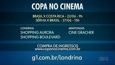 Rede Globo transmite partidas da Seleção Brasileira para cinemas em todo o país - Em Londrina os jogos do Brasil na Copa podem ser assistidos nos cinemas dos shoppings Aurora e Boulevard.