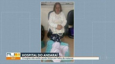 Pacientes não conseguem cirurgia no Hospital do Andaraí - Os pacientes internados no Hospital do Andaraí, na Zona Norte do Rio, não estão conseguindo passar por cirurgia. Eles dizem que falta material para realizar os procedimentos. O funcionários confirmam a informação.