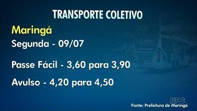 Tarifa do transporte coletivo fica mais cara a partir de segunda-feira em Maringá - O passe fácil vai passar de R$3,60 para R$3,90