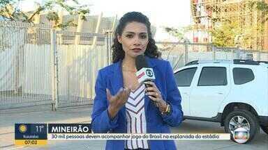 Festa para o jogo entre Brasil e Bélgica está garantida no Mineirão, em BH - A orientação é para o público priorizar o transporte coletivo, já que vai ser proibido estacionar no entorno do estádio.