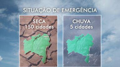 Previsão do tempo: cidades baianas decretam situação de emergência - Enquanto em Canudos a seca causa prejuízos, em Belmonte o problema e o excesso de chuvas. Veja os detalhes com Acácia Lyria.
