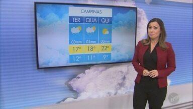 Veja como fica a previsão do tempo nesta terça em Campinas e região - Em Campinas, a terça-feira terá temperatura máxima de 17ºC.