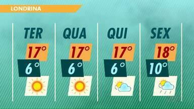 Londrina deve registrar 6 graus na madrugada desta terça-feira - Próximos dias também seguem frios no norte do Paraná.
