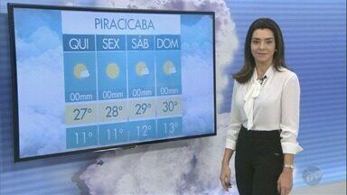 Veja a previsão do tempo para as cidades da região nesta quinta-feira (26) - Piracicaba tem máxima de 27ºC.