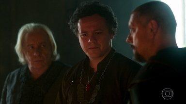 Augusto se decepciona com Catarina - Afonso pede perdão por ela ser inimiga de Montemor e Rodolfo se arrepende por ter financiado Otávio