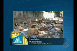 Telespectador registra formação de lixão em rua da Marambaia - O lixo está na avenida Rodolfo Chermont.