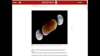 Montes-clarenses vão se reunir para observar o eclipse lunar mais longo do século - Grupo de astrônomos amadores vai registrar o momento e explicar ao público como ocorre o fenômeno, que será nesta sexta-feira (27), a partir das 17h40.