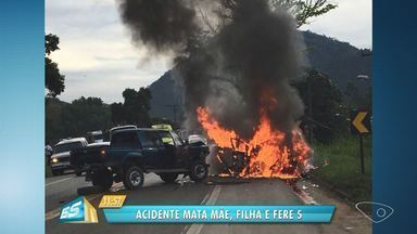 Vítimas que morreram em acidente na BR-101 em Ibiraçu, ES, são mãe e filha - Ediane Barbosa, 47, morreu carbonizada e a menina Maria Luiza, 12, não resistiu aos ferimentos a caminho do hospital. Outras cinco pessoas ficaram feridas, sendo uma em estado grave.