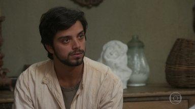 Ernesto, Camilo e Januário sofrem com o desemprego - O italiano sugere que Camilo tente se reaproximar da mãe