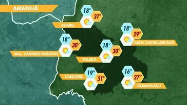 Previsão de sol e calor para este sábado no oeste do estado - Máxima em Cascavel pode chegar aos 31 graus.