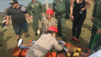 Policiais militares ficam feridos em queda de parapente - Acidente foi nesse domingo em Ribeirão Claro.
