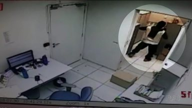 Bandidos assaltam agência bancária em Londrina - A ação foi gravada por câmeras de segurança.