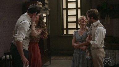 Camilo explica a Darcy sua ideia de fazer um café especial - Darcy gosta da ideia e os dois firmam uma sociedade