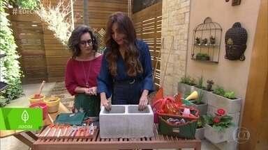 Saiba como fazer horta e jardim usando sobras de tijolos - A paisagista Adriana Shüler ensina